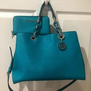Michael Kors Teal Blue Tote Purse & Wallet Leather